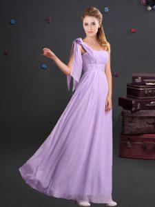 Custom Design Lavender Empire Chiffon One Shoulder Sleeveless Ruching Floor Length Zipper Quinceanera Court Dresses