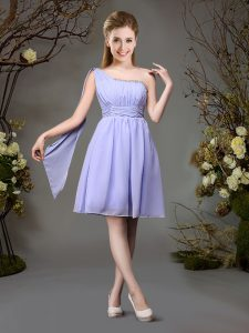 Beautiful One Shoulder Lavender Sleeveless Beading and Ruching Mini Length Vestidos de Damas