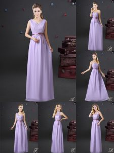 Lace and Appliques and Belt Damas Dress Lavender Lace Up Sleeveless Floor Length