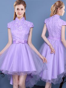 Sexy Lavender Tulle Zipper High-neck Short Sleeves High Low Vestidos de Damas Lace and Bowknot and Belt