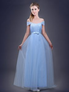 Off the Shoulder Sleeveless Lace Up Floor Length Ruching and Bowknot Quinceanera Court of Honor Dress