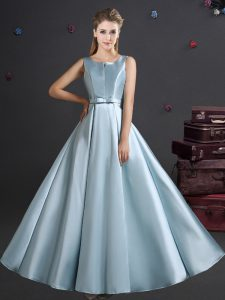 Suitable Light Blue Quinceanera Dama Dress Prom and Party and Wedding Party with Bowknot Straps Sleeveless Zipper