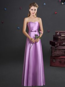 Sophisticated Sleeveless Zipper Floor Length Bowknot Dama Dress