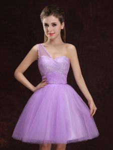 Lovely Lilac A-line Tulle One Shoulder Sleeveless Lace and Ruching Mini Length Lace Up Vestidos de Damas
