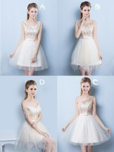 Square Sequins and Bowknot Quinceanera Dama Dress Champagne Lace Up Sleeveless Mini Length