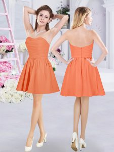 Ideal Orange Chiffon Zipper Damas Dress Sleeveless Mini Length Ruching