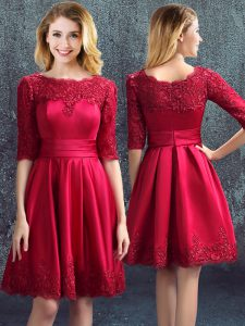 Wine Red Satin Zipper Bateau Half Sleeves Mini Length Court Dresses for Sweet 16 Lace