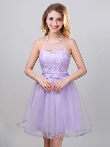 Designer Halter Top Mini Length Lace Up Quinceanera Court Dresses Lavender for Prom and Party and Wedding Party with Lace and Appliques and Belt