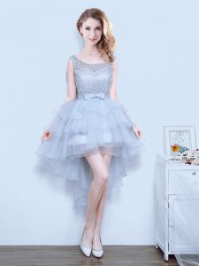 Modest Grey Organza Lace Up Scoop Sleeveless Mini Length Vestidos de Damas Lace and Ruffled Layers and Bowknot