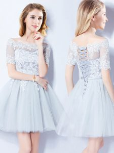 Fantastic Off the Shoulder Light Blue A-line Lace Dama Dress Lace Up Tulle Short Sleeves Mini Length