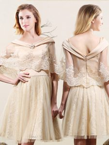 Affordable Off The Shoulder Sleeveless Damas Dress Mini Length Lace Champagne Tulle and Lace