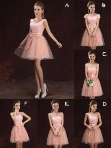 Sweet V-neck Sleeveless Dama Dress Mini Length Lace and Bowknot Peach Tulle and Lace