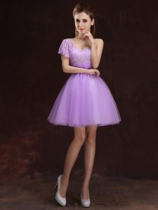 Lilac Ball Gowns One Shoulder Sleeveless Tulle Mini Length Lace Up Lace and Ruching Court Dresses for Sweet 16