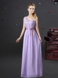 Lavender One Shoulder Lace Up Lace and Appliques and Belt Vestidos de Damas Sleeveless