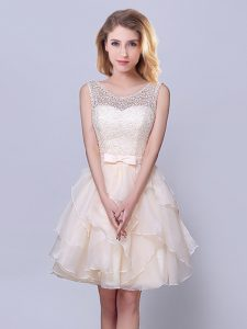 Dramatic Scoop Champagne Sleeveless Organza Lace Up Dama Dress for Prom and Party and Wedding Party