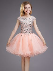 0a7a4a997c0 Cap Sleeves Mini Length Beading and Sequins Lace Up Dama Dress for  Quinceanera with Pink