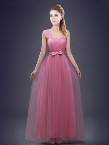 Custom Designed Straps Pink Sleeveless Ruching and Bowknot Floor Length Quinceanera Court of Honor Dress
