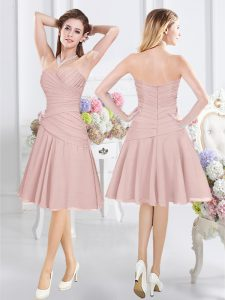 Top Selling Pink Sleeveless Knee Length Ruching Zipper Damas Dress