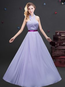 Noble Halter Top Sleeveless Zipper Quinceanera Court Dresses Lavender Chiffon