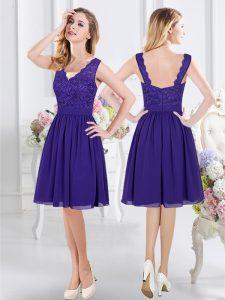 Nice Purple Scalloped Zipper Lace Vestidos de Damas Sleeveless