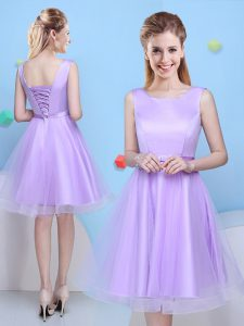 Colorful Lavender Tulle Lace Up Scoop Sleeveless Knee Length Quinceanera Court Dresses Bowknot
