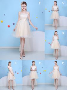 Champagne A-line Bowknot Court Dresses for Sweet 16 Lace Up Tulle Sleeveless Knee Length