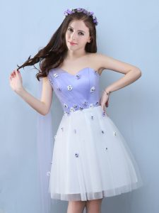 White Lace Up One Shoulder Appliques Damas Dress Tulle Sleeveless