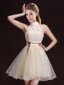 Ideal Champagne Lace Up Halter Top Lace and Belt Damas Dress Organza Sleeveless