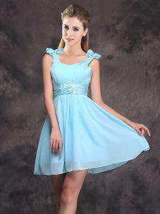 Cute Baby Blue Zipper Straps Ruching and Bowknot Damas Dress Chiffon Sleeveless