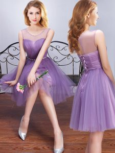 Lavender Tulle Lace Up Scoop Sleeveless Mini Length Quinceanera Dama Dress Beading and Ruching and Belt