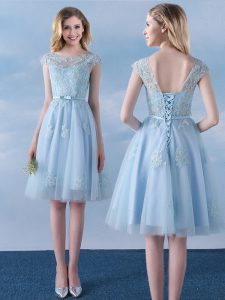Flare Scoop Light Blue Cap Sleeves Knee Length Appliques and Belt Lace Up Dama Dress