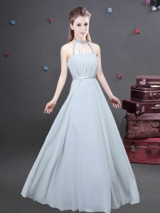 Customized Halter Top Ruching Dama Dress for Quinceanera Grey Zipper Sleeveless Floor Length