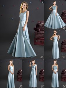 Square Bowknot Court Dresses for Sweet 16 Light Blue Zipper Sleeveless Floor Length