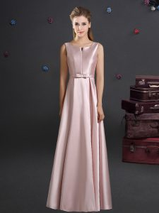 Straps Floor Length Pink Dama Dress for Quinceanera Elastic Woven Satin Sleeveless Bowknot