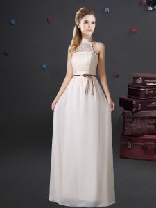 Halter Top White Sleeveless Chiffon Lace Up Damas Dress for Prom and Party and Wedding Party