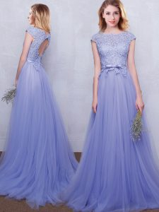 Attractive Lavender Empire Tulle Scoop Cap Sleeves Lace and Belt With Train Backless Damas Dress Brush Train