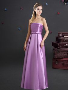 Flare Elastic Woven Satin Sleeveless Floor Length Damas Dress and Bowknot