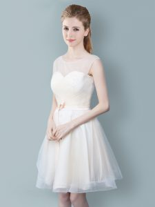Pretty Scoop Champagne Zipper Quinceanera Court Dresses Ruching and Bowknot Sleeveless Knee Length