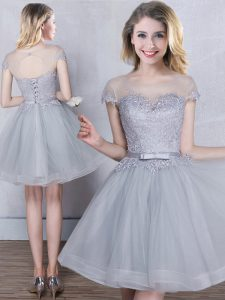 Modern Grey A-line Tulle Scoop Short Sleeves Appliques and Belt Mini Length Lace Up Vestidos de Damas