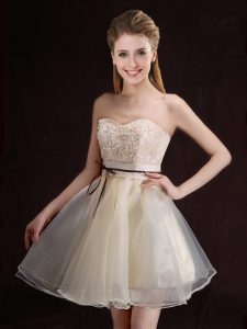 Lovely Organza Sleeveless Mini Length Quinceanera Court Dresses and Appliques and Belt
