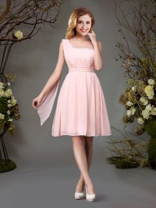 Noble One Shoulder Sleeveless Zipper Damas Dress Pink Chiffon