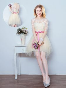 Modern Scoop Champagne A-line Lace and Appliques and Ruffles and Bowknot Damas Dress Lace Up Tulle Half Sleeves Mini Length