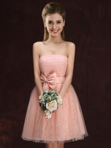 Customized Mini Length Peach Quinceanera Court of Honor Dress Tulle and Lace Sleeveless Lace and Bowknot