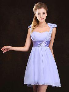 Straps Sleeveless Chiffon Dama Dress for Quinceanera Ruching and Bowknot Zipper