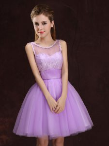 Sophisticated Mini Length Lilac Dama Dress for Quinceanera Scoop Sleeveless Lace Up