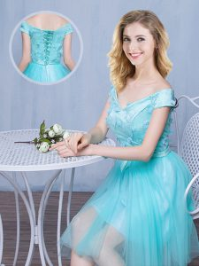Perfect Aqua Blue Tulle Lace Up Off The Shoulder Cap Sleeves Knee Length Quinceanera Court Dresses Lace and Appliques and Bowknot
