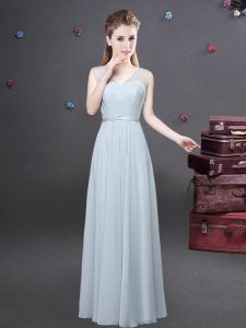 Luxurious Grey V-neck Zipper Ruching Vestidos de Damas Sleeveless