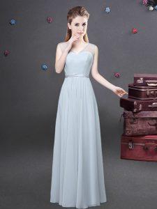 Luxurious Grey V-neck Zipper Ruching Vestidos de Damas Sleeveless