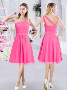 One Shoulder Knee Length A-line Sleeveless Hot Pink Quinceanera Court of Honor Dress Zipper