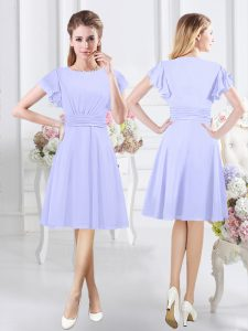Exceptional Scoop Ruching Court Dresses for Sweet 16 Lavender Side Zipper Short Sleeves Knee Length